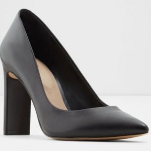Aldo Black Leather Block Heels